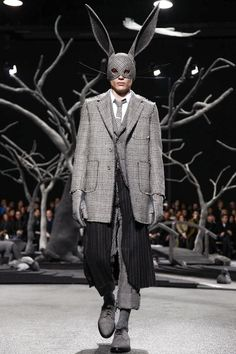 Thom Browne Menswear Fall Winter 2014 Paris (rabbit hat)