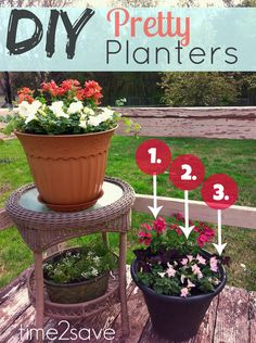 Arrange beautiful DIY Flower Planters with this 3-Step Rule of thumb:  You need a BOOM! a Filler and a Spiller!