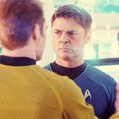 """That is the face of a man who has seen Jim Kirk's definition of """"fun"""" one too many times << pinning for that comment"""