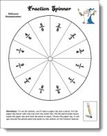 Fraction spinner and other free fraction printables from Laura Candler's Teaching Resources