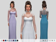 "metens: "" Eleanor Gown Comes in 9 colours. Mesh with permission by Ekinege - included I hope you like it! :) Don't copy, modify or claim as your own. Download """