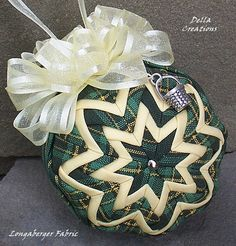 Quilted Longaberger Fabric Ornament w/Charm