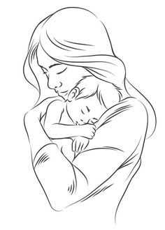 Here is a collection of 40 drawings to color dedicated to Mother& Day: lots of images in PDF to print on mom struggling with the kids or with gifts of the party or even with writings also nice coloring. Pencil Drawing Images, Art Drawings Sketches Simple, Girl Drawing Sketches, Love Drawings, Mother And Daughter Drawing, Mother Art, Mom Drawing, Mothers Day Drawings, Pregnancy Art