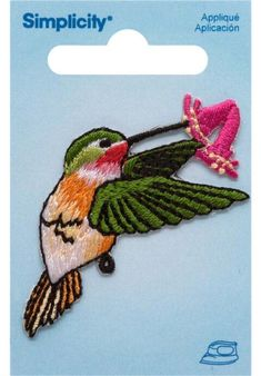 Simplicity® Hummingbird with Flower Iron On Applique $2.99
