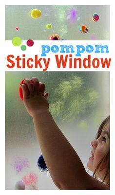 pompom sticky window boredom buster for kids