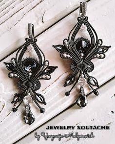 Tatting Earrings, Soutache Necklace, Boho Jewelry, Beaded Jewelry, Jewelery, Shibori, Wallis Simpson, Beach Crafts, Black Earrings