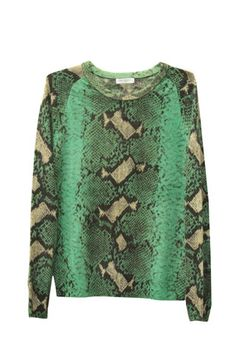 Equipment collection for resort 2013. Equipment featured this snakeskin print in cashmere for its collection. Printed silk blouses were trendy during summer time and now the prints are on cashmere which made the smooth transition. This sweater can be styled up and down. Naye Y.