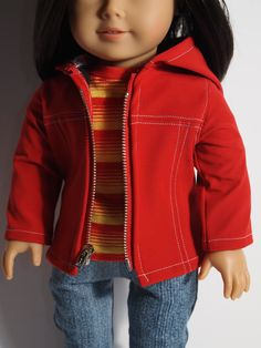 """American Girl clothes  and other 18"""" doll- Jacket, Jeans Baseball t-shirt and Retro Sneakers. on Etsy, $40.00"""