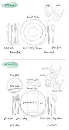 How To Set a Table: Illustrated Guide to Casual & Formal Entertaining // Tabletop Decorating Ideas