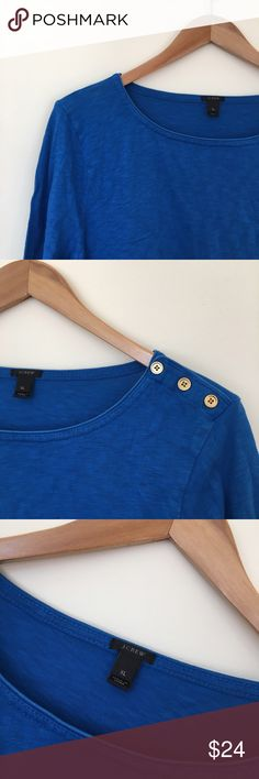 J. Crew Painter Tee w/ Buttons Bright royal blue color with gold detail buttons. 100% Cotton J. Crew Tops Tees - Long Sleeve