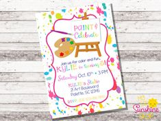 This listing is for an art/paint themed birthday invitation!! This invite can be customized for ANY age!  Need matching PARTY PRINTABLES? See them all here: http://etsy.me/1PTzvJ3  ♥ Y O U R • P U R C H A S E • I N C L U D E S ♥ *One 5 x 7 high resolution {300 DPI} image ^ ^ You choose your file type: ---JPEG photo >> great for photo labs {Walgreens, etc.} or sending via email/text ---PDF / 2 per page >> great for print shops or home printing {on whit...