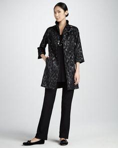 Blurred Ikat Coat, Sleeveless Silk Tunic & Slim Boot-Cut Pants, Petite
