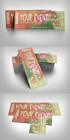 Watercolor event ticket. Invitation Templates. $6.00
