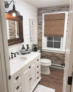 Best Rustic Bathroom Decor Ideas to Attempt in Your Home - Kids Bathroom Ideas – Enhancing kids washroom can be extremely fun. Every edge of the washroom ha - Bad Inspiration, Bathroom Inspiration, Casa Magnolia, Brick Veneer Wall, Fake Brick Wall, Bathroom Kids, Brick Bathroom, Bathroom Wall Ideas, Brick Wallpaper Bathroom