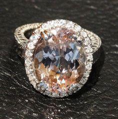 12 Carat Morganite and Diamond 14K White Gold Ring Engagement