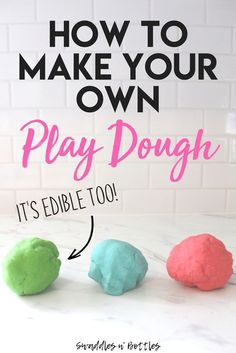 Homemade Play-Doh (It's Edible Too!) - Swaddles n' Bottles play dough Nanny Activities, Indoor Activities For Toddlers, Infant Activities, Learning Activities, Summer Kid Activities, Austin Activities, Children Activities, Outdoor Activities, Toddler Play