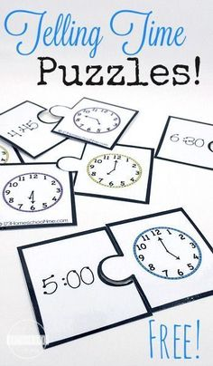 Give kids the practice they need telling time with these fun, FREE printable telling time puzzles for kindergarten, 1st grade, 2nd grade, and 3rd #mathpractice