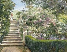 In the Gardens of the Royal Alcazar, Seville, Spain by Manuel Garcia y Rodriguez - Shop Discount Oil Paintings at OilPaintings.com