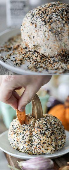 Everything Bagel Cheeseball and Sun-Dried Tomato Cheeseball: pumpkin shaped cheeseball recipes for entertaining. #cheeseball #fall #appetizer #recipe #everythingbagel