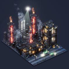 Voxelart Dioramas - Industries of Titan on Behance Ville Cyberpunk, Cyberpunk City, Star Wars Concept Art, Game Concept Art, Art Isométrique, Cube World, Space Games, Sci Fi Environment, Isometric Art