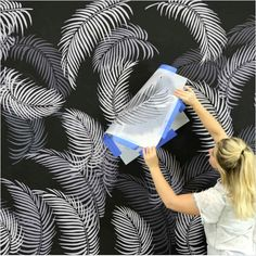 Palm Fronds Stencil Kit – Tropical leaf stencil designs for trendy home decor A Midnight Tropical Accent Wall using Palm Fronds Stencils Stencil Wall Art, Wall Stencil Patterns, Leaf Stencil, Stencil Painting On Walls, Diy Wall Painting, Stencil Designs, Paint Designs, Tile Stencils, Stencils For Walls