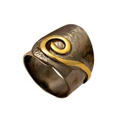 Wrap ring sterling silver with gold detail black patina two colors (Oxidation)