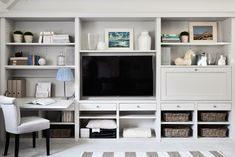 Built-Ins and workspace built in tv wall unit, built in tv cabinet, built. Built In Tv Wall Unit, Built In Tv Cabinet, Desk Wall Unit, Tv Built In, Built In Cabinets, Built In Shelves, Built In With Desk, Tv Cabinets, Wall Unit Decor