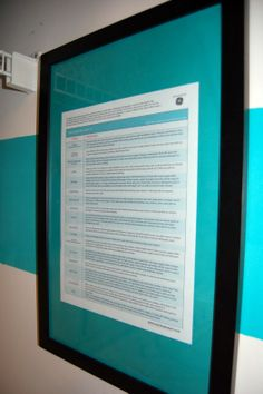 Martha Stewart's stain removal guide framed in the laundry room.