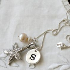 Talisman Jewelry Starfish Monogram Sterling Silver Necklace $66.00 #thebellacottage #accessories #fashion