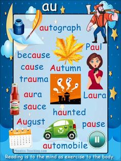 au words Phonics Sound Poster - FREE & PRINTABLE - For Auditory Discrimination, Exploring Letter Sounds, Literacy Groups or as a Phonics Word Wall Poster. English Phonics, English Vocabulary, Teaching English, English Spelling, English Grammar, Reading Fluency, Teaching Reading, English Words, English Lessons