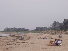 Quonochontaug, Rhode Island. Central Beach.  Looking west down the beach