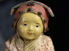 "Rare 10""Antique Chinese Chase Cloth Doll 5 Finger Ching"