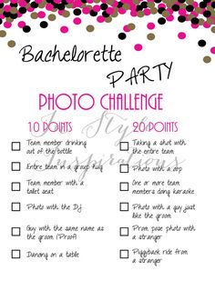 Items similar to Bachelorette Party Game / Photo Challenge / Pink and Gold on Etsy Wedding Party Games, Wedding Dj, Trendy Wedding, Wedding Ideas, Wedding Colors, Wedding Reception, Wedding Decorations, Bachelorette Party Games, Bachelorette Weekend