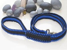 Blue and Black Paracord Dog Lead
