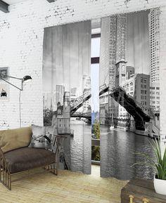"""Комплект штор """"Разводной мост"""": купить комплект штор в интернет-магазине ТОМДОМ #томдом #curtains #шторы #interior #дизайнинтерьера"""