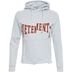 VETEMENTS Hooded Jersey Sweatshirt ($535) ❤ liked on Polyvore featuring tops, hoodies, sweaters, jersey hoodies, print top, long sleeve jersey top, jersey top and patterned tops