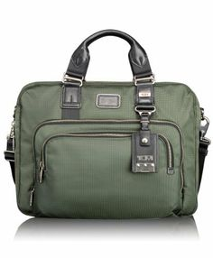 "Tumi Luggage Alpha Bravo Yuma Slim Brief, Spruce, One Size (742315866116) Shoulder strap length: 50"" Includes interior back wall zipper pocket and two interior multi-function pockets Three large exterior pockets Handle has a drop of 5"" and a length of 13"""