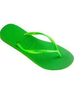 f9aa2f2768d4e Walk on soft and comfortable footwear! Havaianas Slim Neon Green Flip Flop   flopstore.