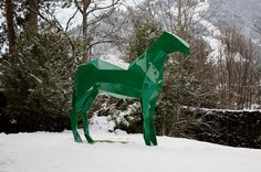 The Horse, Green, in Gstaad, 2009 by Xavier Veilhan.