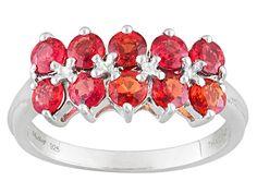 Exotic Jewelry Bazaar™ 1.76ctw Round Orange Sapphire Sterling Silve