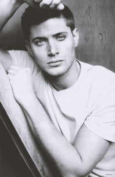 Jensen Ackles in a plain white-T. Holy. Mother. of....