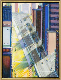 In the last of three postings on the paintings of Wayne Thiebaud (cakes, landscapes, and cityscapes) I'm taking a look at some of his citysc. Urban Landscape, Landscape Art, Landscape Paintings, Landscapes, Bay Area Figurative Movement, Pop Art Movement, Mondrian Kunst, Wayne Thiebaud Paintings, Eugenia Loli