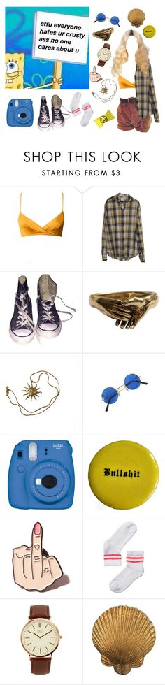 """""""Sassy spongebob"""" by depressedhoe ❤ liked on Polyvore featuring Converse, Anne Klein, Fujifilm, Local Heroes, Monki and BKE"""