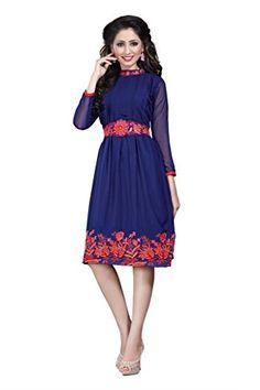 Suchi Fashion Dark Blue Embroidered Georgette Designer Kurti/Tunic #girlsfashionsense #fashionsense #girlsfashionwear #fashionsense