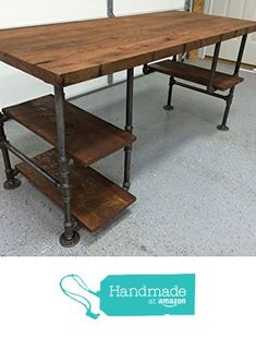 "Reclaimed Wood Desk Table - Rustic Solid Oak W/ 28"" Black Iron Pipe legs. from BeRusticCo https://smile.amazon.com/dp/B01F6JTOK6/ref=hnd_sw_r_pi_awdo_qG5syb3WK1CNH #handmadeatamazon"