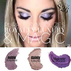 Purple. Such a powerful color! It's also the color that symbolizes Younique! our splurge cream shadows offer 3 beautiful shades of purple. From the elegant Dainty, which is a light silvery lilac to the bold and intense Majestic which is our richest purple shadow we offer! Want something in the middle?! We got you covered girl! Give those eyes just the right pop of color with Noble, which is a deep lavender! Find Tasha Houston on Facebook!