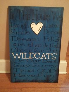 UK Wildcats & Family Rules sign by asimplyprimdecor on Etsy