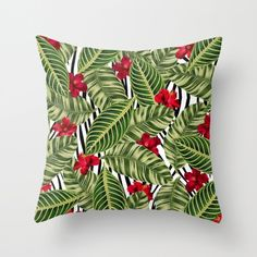 Tropical Pillow Cover, Leaf Pattern, Hibiscus Flower Cushion Cover, Zebra Print Throw Pillow, Hollywood Glam Accent Pillow, Tropical Leaves by OlaHolaHolaBaby on Etsy