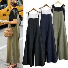 3 Color Autumn Summer Ladies Casual Loose Solid Tank Jumpsuit Long Suspender Overalls Bib Pants