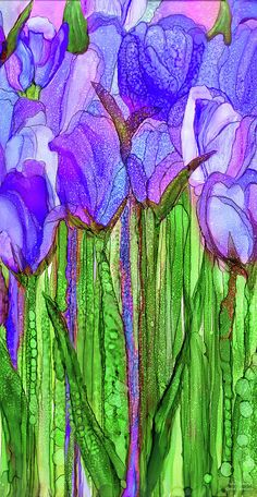 Tulip Bloomies 1 - Purple Art Print by Carol Cavalaris. All prints are professionally printed, packaged, and shipped within 3 - 4 business days. Choose from multiple sizes and hundreds of frame and mat options. Alcohol Ink Glass, Alcohol Ink Crafts, Alcohol Ink Painting, Watercolor Cards, Watercolor Flowers, Watercolor Paintings, Watercolors, Purple Art, Abstract Flowers